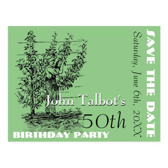 the gardener 50th birthday party save the date cards