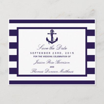 The Nautical Anchor Navy Stripe Wedding Collection Announcements Cards