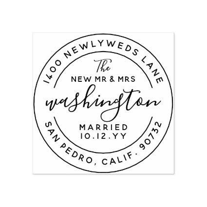 The New Mr and Mrs Newlywed Address Rubber Stamp