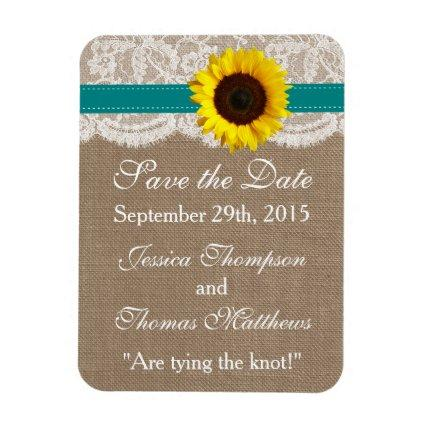 The Rustic Sunflower Wedding Collection - Teal Magnet