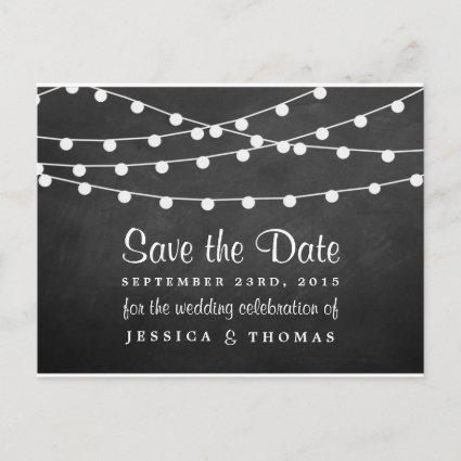 The String Lights On Chalkboard Wedding Collection Announcements Cards