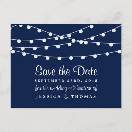 The String Lights On Navy Blue Wedding Collection Announcements Cards