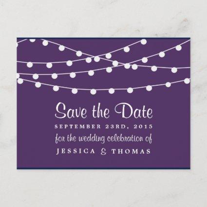 The String Lights On Purple Wedding Collection Announcements Cards