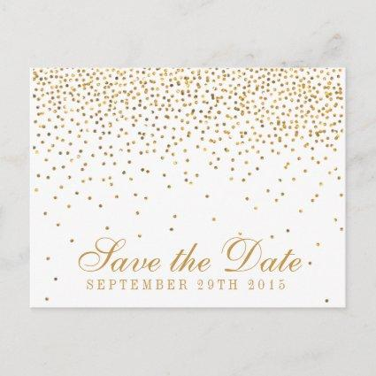 The Vintage Glam Gold Confetti Wedding Collection Announcements Cards