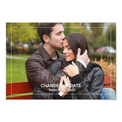 Thin Framed Photo - 3x5 Change Our Date Invitation