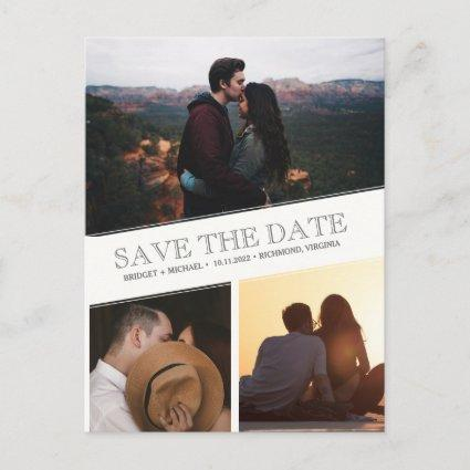 Three Photo Collage Modern Save the Dates Announcement