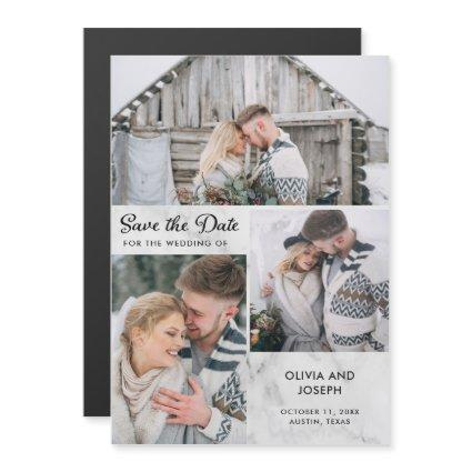 Three Photo Save the Date | Marble Look Magnetic Invitation