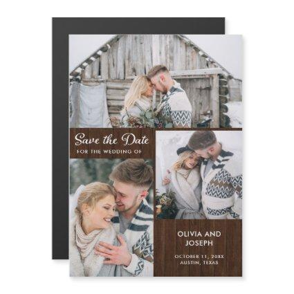 Three Photo Save the Date | Rustic Wood Magnetic Invitation