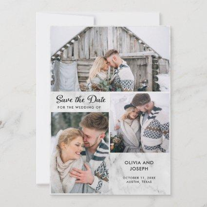 Three Photos on a Marble Look | Wedding Save The Date