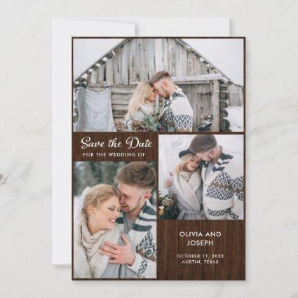 Three Photos on Rustic Wood Look | Wedding Save The Date