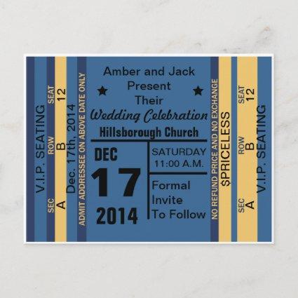 Ticket To Fun Save The Date Cards