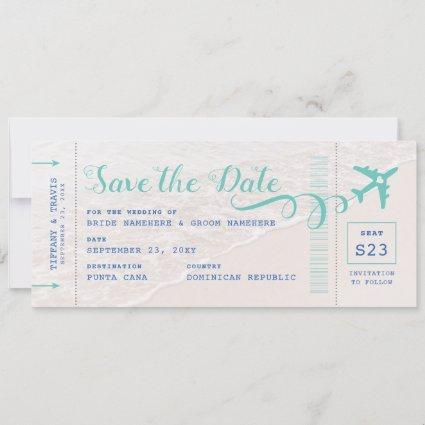Ticket to the Beach Boarding Pass Save the Date Announcement