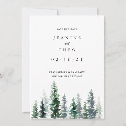 Timber Grove | Winter Watercolor Save the Date