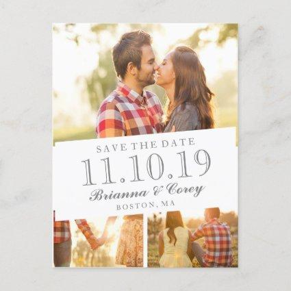 Timeless 3-Photo Save the Date Announcements Cards