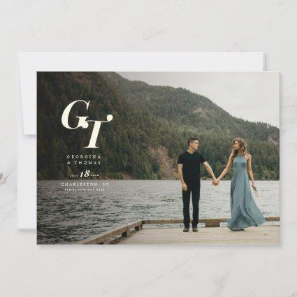 Timeless Monogram Sophisticated Photo Minimal Chic Save The Date