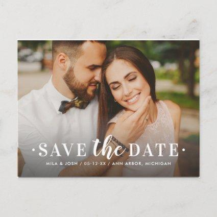 Timeless Type White Wedding Photo Save the Date Announcement