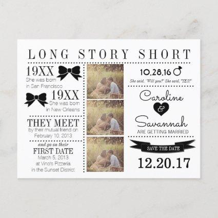 Timeline Bows Save the Date Post Card