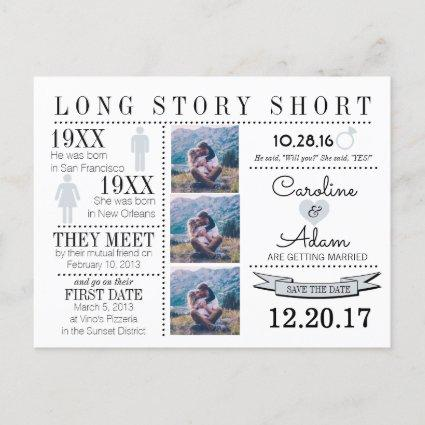 Timeline in light gray Save the Date Post Card