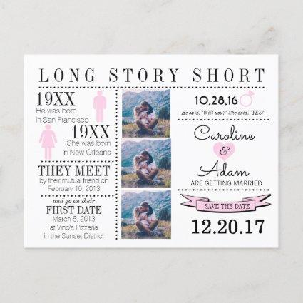 Timeline in light pink Save the Date Post Cards