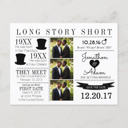 Timeline Top Hat Save the Date Post Card