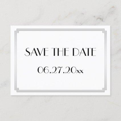 Tiny Gatsby Art Deco Silver Wedding Save The Date