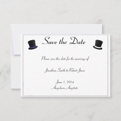 Top Hats Bow Ties Blue Gay Wedding Save the Date