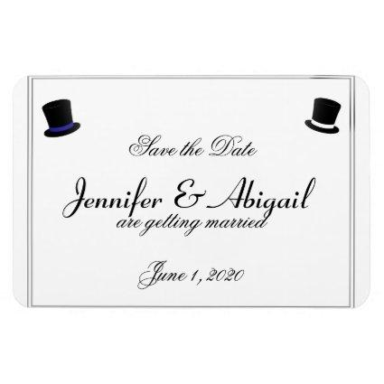 Top Hats Bow Ties Blue Gay Wedding Save the Date Magnet