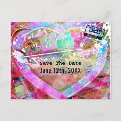 Totally 80's Bright Fun Heart Party Save the Date Announcement