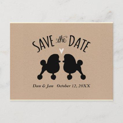 Toy Poodle Silhouettes Wedding Save the Date Announcement