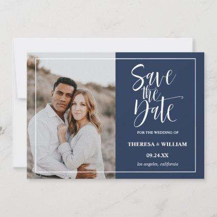 Traditional Calligraphy Photo Wedding Save The Date