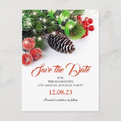 Traditional Christmas Holiday Party Save the Date Announcement