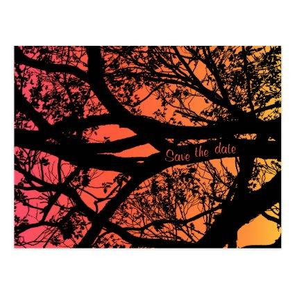 Tree silhouette save the date wedding Cards