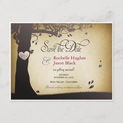 Tree Trunk Save the Date Announcement