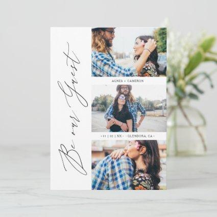 Trendy Be our Guest Chic Romantic 3 Photos Wedding Save The Date