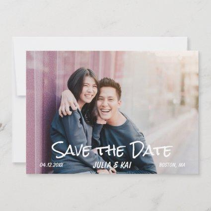 Trendy Brush Script | Photo Save The Date