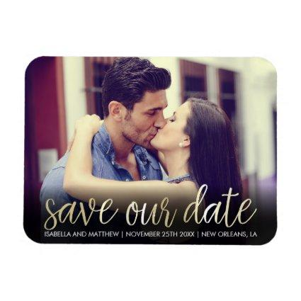 Trendy Champagne Save Our Date | Unique Picture Magnet