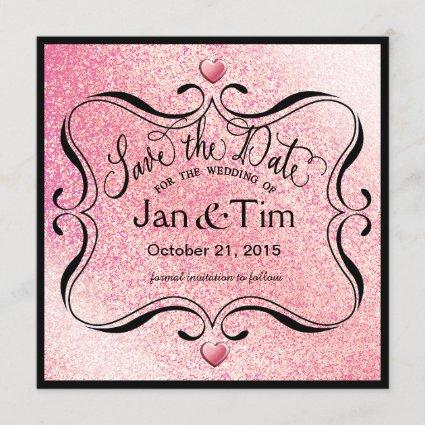 Trendy Glitter Shimmer Save the Date   pink black
