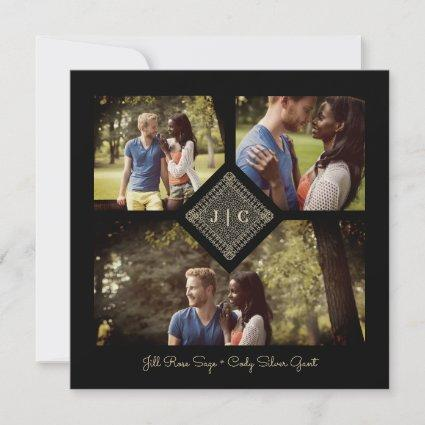Trendy Golden Effect Lace Sophisticated Wedding Save The Date