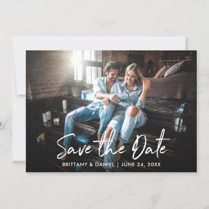 Trendy Handwritten Script Save the Date Photo Card