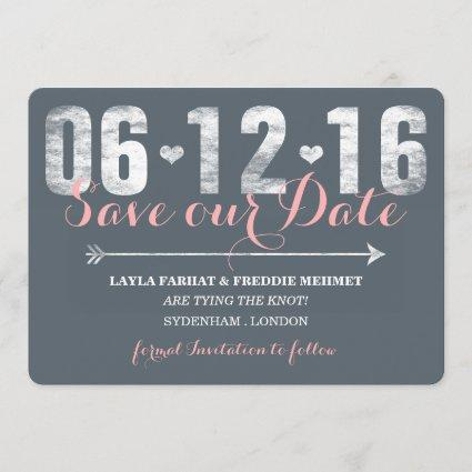 Trendy Pink & Grey Save The Date