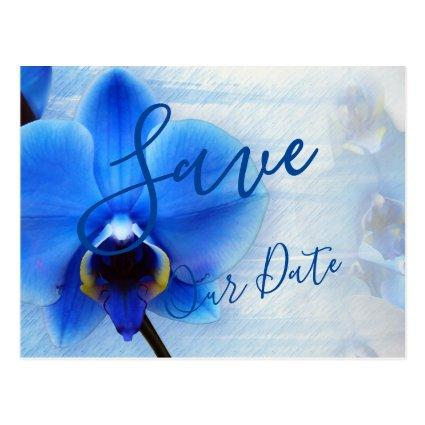 Trendy Tropical Blue Watercolor Orchid Flowers