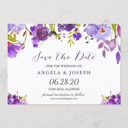 Trendy Ultra Violet Purple Floral Save the Date