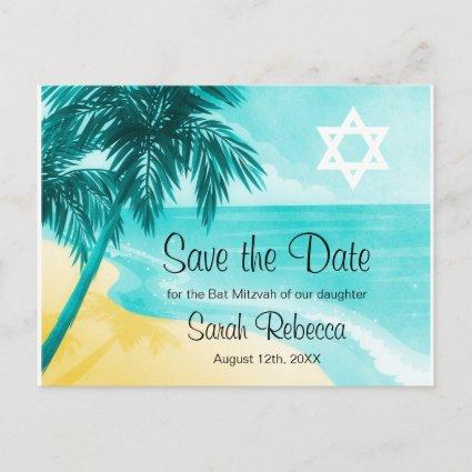 Tropical Beach Bat Mitzvah Save the Date Announcement