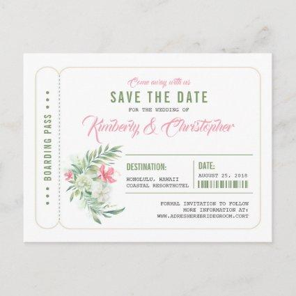 Tropical Beach Boarding Pass Ticket Save the Date Announcement
