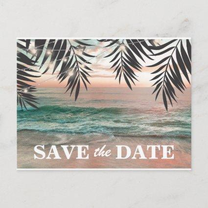 Tropical Beach Destination Save the Date Announcements Cards