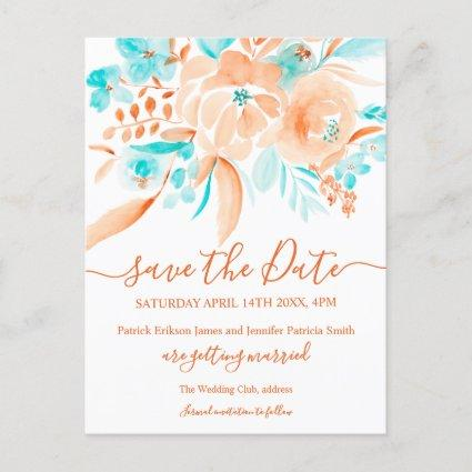 tropical beach floral watercolor save the date announcement