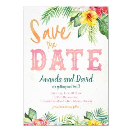 Tropical Beach Hibiscus and Flamingo Save the Date Invitation