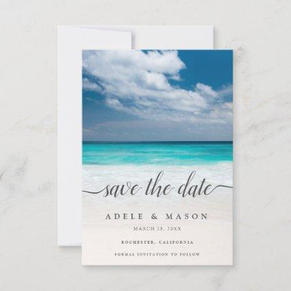 Tropical Beach Ocean Save the Date Wedding