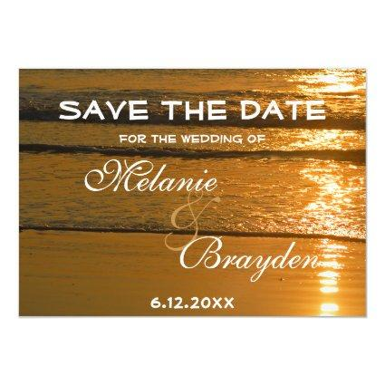 Tropical Beach Ocean Sunset Wedding Save The Date Magnetic Invitation