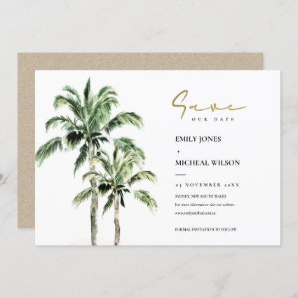 Tropical Beach Palm Trees Save The Date Invite